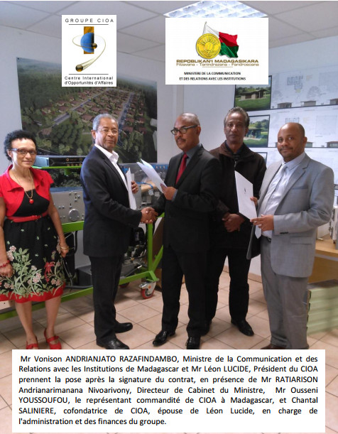 CIOA conclut un contrat de 10 M€ avec l'Etat de Madagascar