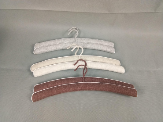 Fabric clothes hanger, wood cover with line cloth hangers